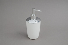 DISPENSER JABON PVC BLANCO/CROMO 8*18CM